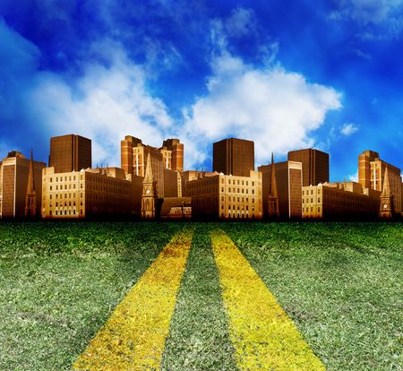 industrialized: A double yellow line highway road with grass is leading to a city with clouds in the background. The building looks brown. Perfect for a travel or destination abstract photo.