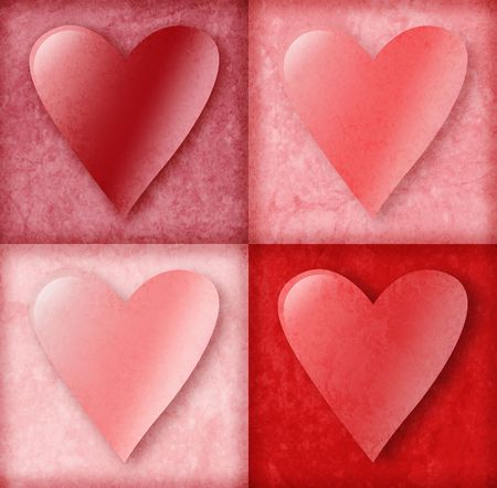 love is it: Four pink and red valentine love hearts are in 4 boxes with an old vintage background texture. Use it for love, friendship or anniversary.