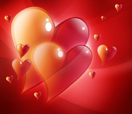 Two large red hearts that are beveled have smaller hearts around them. They are glowing. Use it for a valentines, wedding or love background. Stock Photo - 6341415