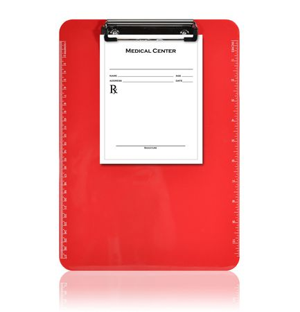 A red, isolated clipboard is holding a blank prescription piece of paper. The background is white. Use it for a medical or pharmacy photo.