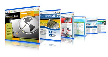 browser business: Six technology internet business websites are standing upright. They have a 3-D perspective. Has white isolated background. Stock Photo