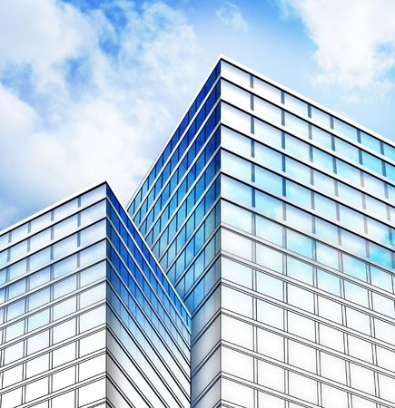 Bright blue city buildings with the sky clouds reflecting on them. The bottom is a blueprint layout sketch fading to a real building construction. Stock Photo - 6716628