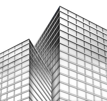office building: Black and white city buildings with a white, isolated, background. The bottom is a blueprint layout sketch of lines fading to a real building construction with shadows. Stock Photo