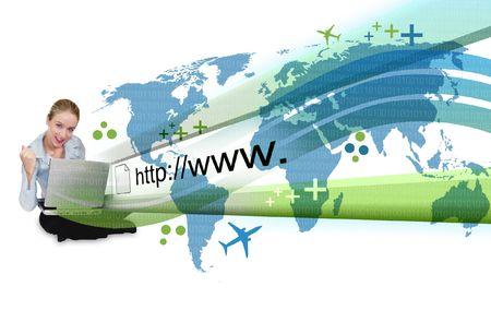 net surfing: Un business di giovane donna � seduta per terra con un computer portatile e un indirizzo internet astratto � popping fuori con una mappa e un codice binario.