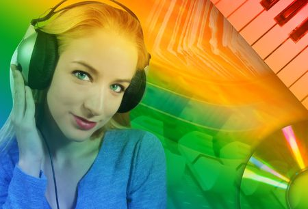 A woman is listening to music on her headphones with an abstract music background behind her. Stock Photo - 6769142