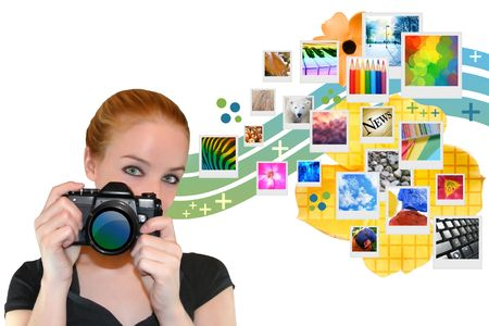 A woman is holding a camera and looking into a camera while abstract photos are coming out the side of her. Stock Photo - 6769140