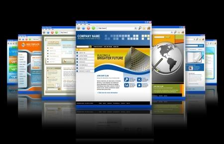 website: Sieben Technologie-Internet-Business-Websites sind mit einer Reflexion aufrecht stehen. Es ist eine gro�e und kleinere verblassen auf der R�ckseite. Schwarz hat hintergrund isoliert.  Lizenzfreie Bilder