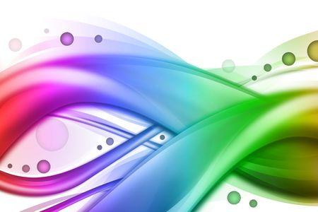 arcobaleno astratto: Un arcobaleno luminoso astratto sfondo per affari o per la tecnologia. Ha due grandi onde turbinii con 3 piccoli in background. Essi sono che scorre e hanno luce e ombre con cerchi che scorre lungo il loro. Archivio Fotografico