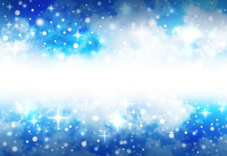 A very bright, blue star abstract background with sparkles that shine and glow in the night sky. There is a blank, white area in the middle to add your text. Clouds are in the background space. Stock Photo - 6975377