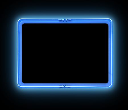 A bright blue neon blank sign on a black background is glowing bright. Add your own text message in the frame border.