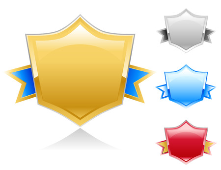 commitment: Four colorful shield banner award signs to use for your business as a competition warranty, or commitment symbol.  The colors are gold, silver, blue and red. Illustration