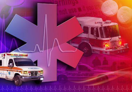 Eine abstrakte medizinische Rettungs-Collage mit einem Krankenwagen, Firetruck und Polizei-Auto. Es ist ein Herz-beat-Puls im Hintergrund mit Pillen.  Standard-Bild