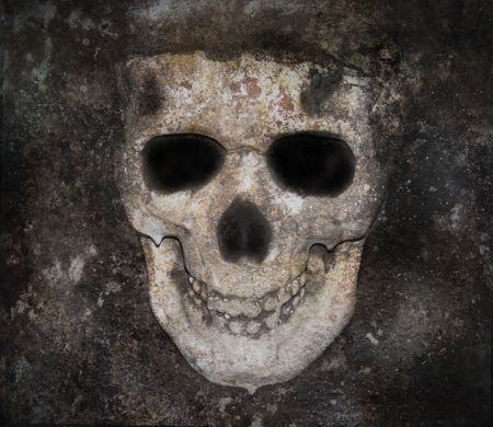 A skull of a human with decay texture for a background. The dark skull can be used for Halloween, death or a nightmare concept.