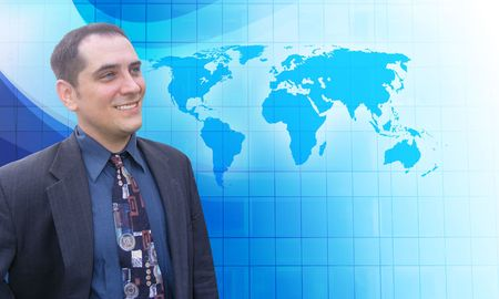 A middle aged business man is looking to the future with a blue background. He is looking at a map of the Earth and has a vision. Stock Photo - 6975391