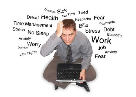 A business man is sitting on a white isolated background holding his hand to his forehead looking stressed out. Text is describing his feelings and he is holding a laptop.