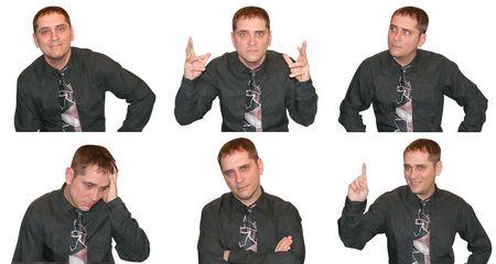 Een zakenman vertoont een verscheidenheid van gezichtsuitdrukkingen en de emoties, variërend van boos tot graag nieuwsgierig. Stockfoto