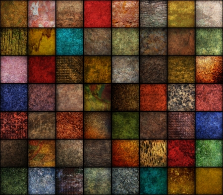 A square, earth tone background with may textures
