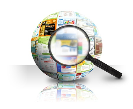 A magnifying Glass is searching the internet and there are different website templates in a 3D Ball on a white background  Use it for a research or optimization concept Stock Photo - 13882996