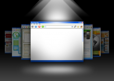 A spotlight is shining on a blank internet website on a black background  Add your text message