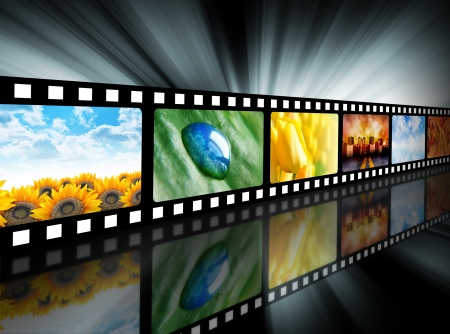 A film reel has different nature photo images on it and there is a glowing black background. Use it for a media technology concept.  photo