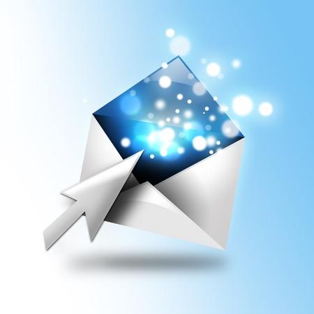이메일 편지는 컴퓨터의 커서로 개방된다