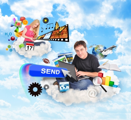 A men and a women are sitting on clouds and holding a laptop and smart phone with technology icons around them