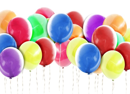 A group of colorful balloons are on a isolated white background which can represent a birthday, anniversary or celebration event photo