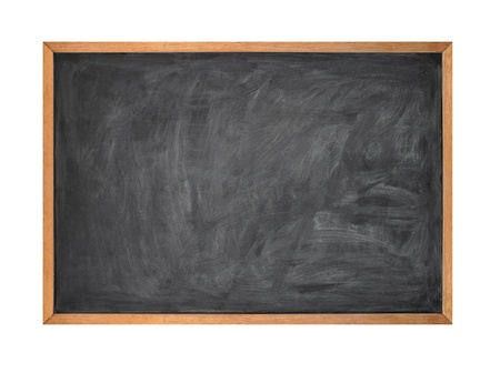 A blank school black board is isolated on a white background   Stockfoto