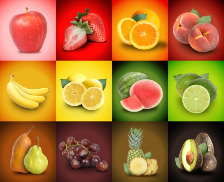 A mosaic variety of colorful fruit squares photo