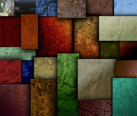 grunge layer: Different geometric square and rectangle textured patterns with many earth tone colors