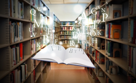 A white book is floating with sparkles and letters in a library isle Imagens