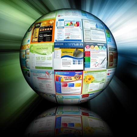 url virtual: An abstract internet ball with different website templates on it Stock Photo