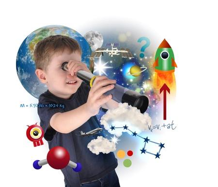 imaginacion: Un muchacho joven ciencia est� mirando al espacio con iconos de la astronom�a cariosas Hay un fondo blanco con un planeta Util�celo para un concepto de educaci�n Foto de archivo