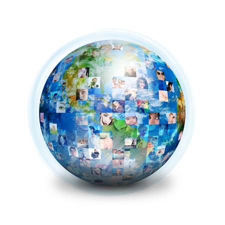 world globe map: A globe is isolated on a white background with many different people Stock Photo