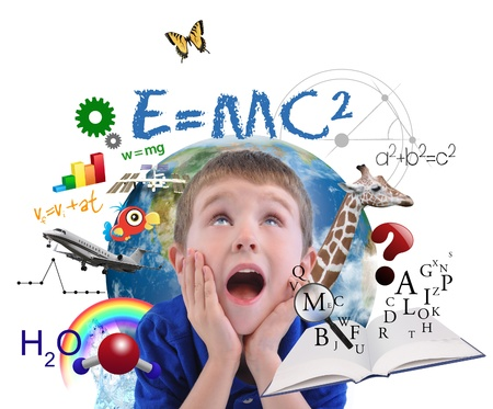A young boy is looking up at different science, math and physics icons around him on a white background photo
