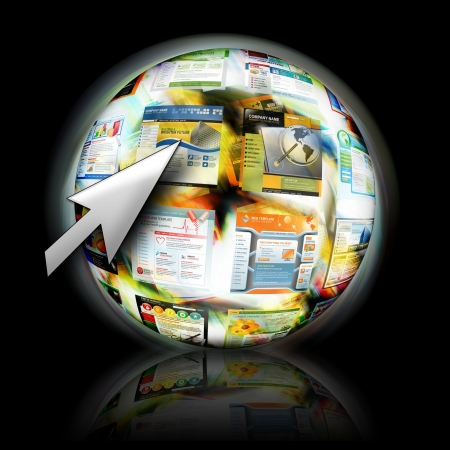 submit search: An abstract internet ball with websites spinning for speed  There is an arrow pointing for a search concept