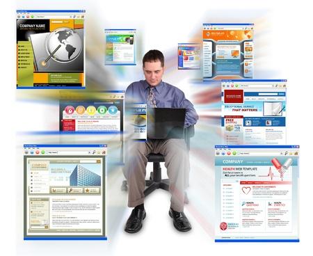 비즈니스 남자 절연, 흰색 배경에 앉아있다 및 그는 속도와 상거래를 나타낼 수 축소되는 기술 웹 사이트를 검색하는 노트북 컴퓨터에서 작동합니다 스톡 콘텐츠