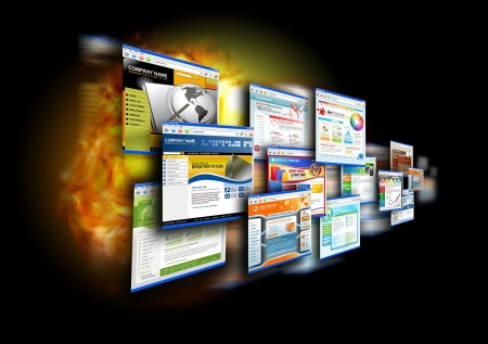 browser business: An abstract internet gallery with different website templates on it  There is a fire flame glow in the black background for a speed effect  Use it for a technology design concept  Stock Photo