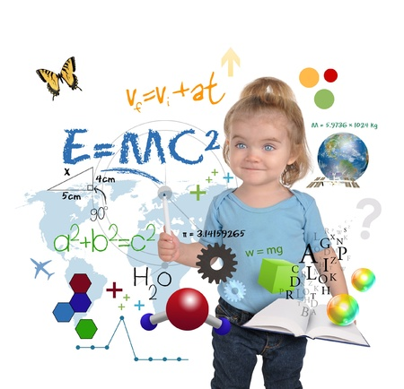 scholastic: A young girl child is writing out math and science equations and formulas  She is standing on a white background  Use it for a school, study or learning concept