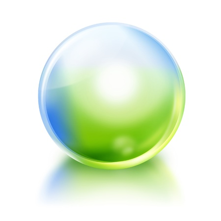 A bright green and blue nature or environmental icon orb circle on a white, isolated background with a reflection  photo