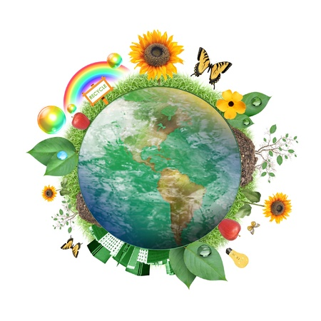 A circle of the Earth globe with atmosphere clouds on a white background  Various recycle and nature icons and symbols are around it from flowers to leaves to butterfly photo