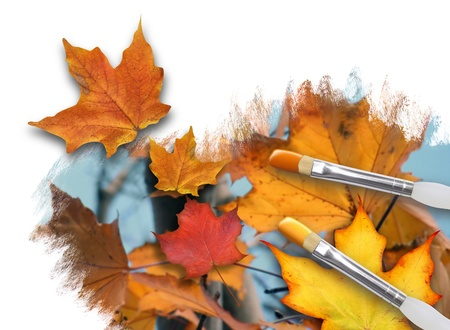 An artist is painting colorful fall leaves on a white background canvas with paint brushes  One leaf is popping out  Can represent a season or nature concept