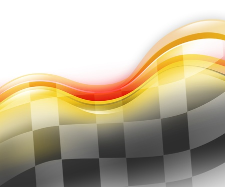 A speed race car background with red and yellow waves on a white background  There is a black and white checkered flag flowing to signify the end or a winner