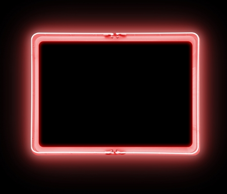 A bright red neon blank sign on a black background is glowing