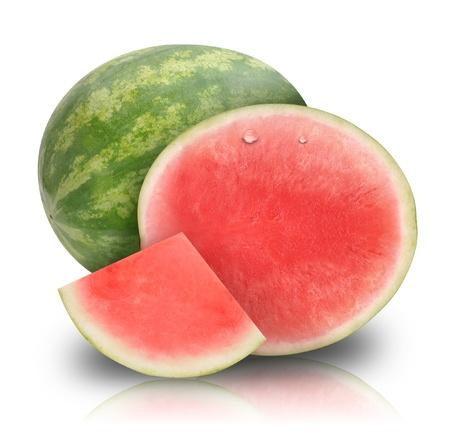 whole food: A pink fresh round watermelon cut in half  There is a also a whole piece  They are isolated on a white background  Use it for a fruit or health concept  Stock Photo