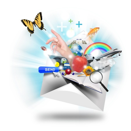 spam mail: A letter or email is opening up with many object popping out such as a butterfly and book  Use it for a newsletter or mail icon