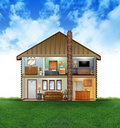 Een mening van een huis lay-out van kamers met meubels en decoratie Er zijn wolken en gras op de achtergrond Gebruik het voor een schone energie of hvac begrip