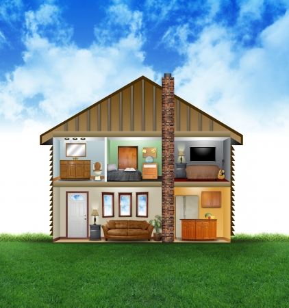A view of a house layout of rooms with furniture and decoration  There are clouds and grass in the background  Use it for a clean energy or hvac concept  Archivio Fotografico