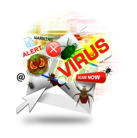 A internet email is open with various computer virus icons around it  There is a white background  Use it for a hacker or infection concept