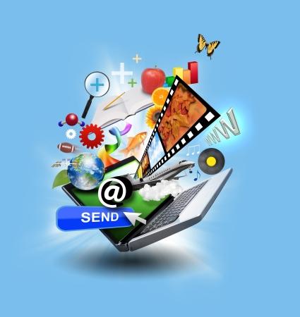 노트북 송신 버튼, 음악, 예술 개체가 메일 다운로드 개념 또는 인터넷 연구 아이디어를 사용 있습니다 파란색 빛나는 배경에 화면 밖으로 돌출 많은